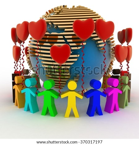 Humans with balloons in the shape of a heart and globe. Conception of love and friendship in the whole world - stock photo