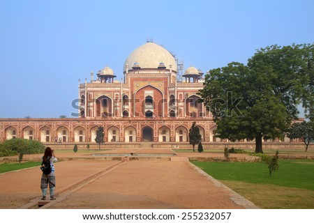 Humayun's Tomb in Delhi, India. It was the first garden-tomb on the Indian subcontinent. - stock photo