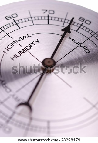 humidity meter is indicating humid - stock photo