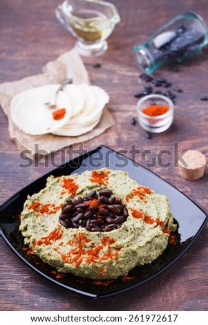 Hummus black bean.selective focus - stock photo