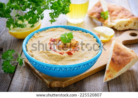 Hummus from chickpea and sesame - stock photo