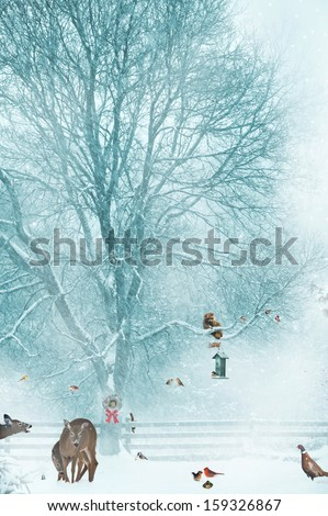 Humorous Christmas card design with wildlife struggling to survive in a harsh winter environment. Feeding animals in winter helps them survive.  - stock photo