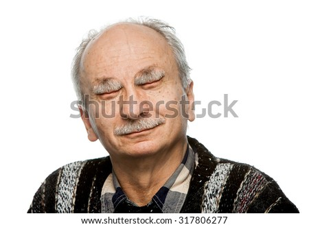 Humorous portrait of an elderly man with his mouth instead of the eyes and hands behind head isolated on white  - stock photo