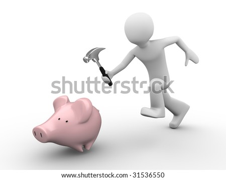 humorous trying to catch savings with hummer in hand running after the piggy-bank - stock photo