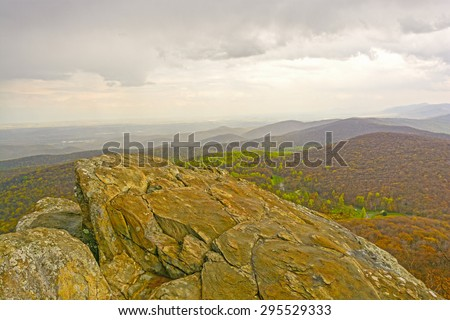 Humpback Rocks above the Blue Ridge Parkway in Virginia - stock photo