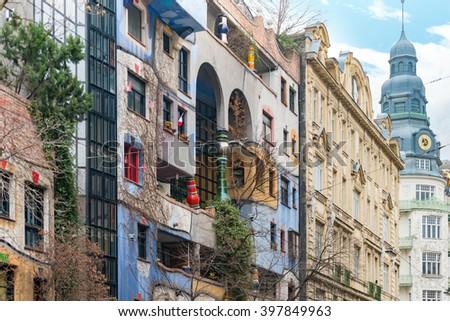 Hundertwasser house in Vienna, Austria. Tourist attraction, unusual building. Europe travel. - stock photo