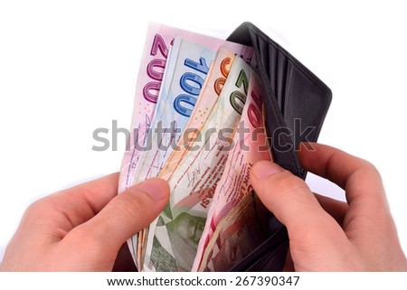 hundred and two hundred Turkish Lira white background - stock photo