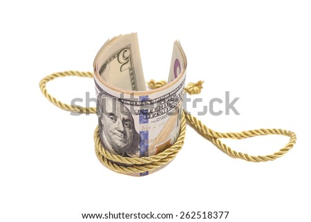 hundred dollar banknotes with golden rope band, isolated on white background  - stock photo