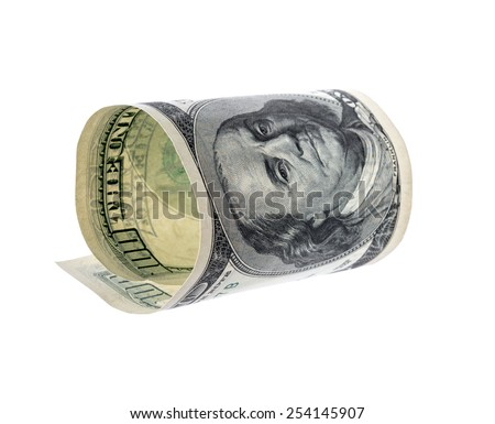 Hundred dollar bill isolated on a white background - stock photo