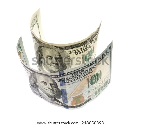 Hundred dollar bill isolated white - stock photo