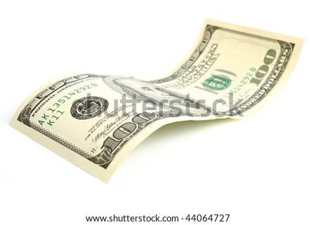 Hundred dollar bill on white background - stock photo