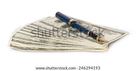 Hundred dollar bills and pen isolated on white background - stock photo