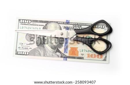 hundred dollar bills in a frying pan - stock photo