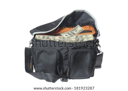 Hundred-dollar bills in the bag. - stock photo