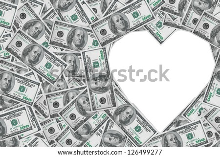Hundred dollar bills making a heart symbol on a white background - stock photo