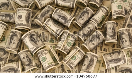 Hundred dollar bills money pile - stock photo