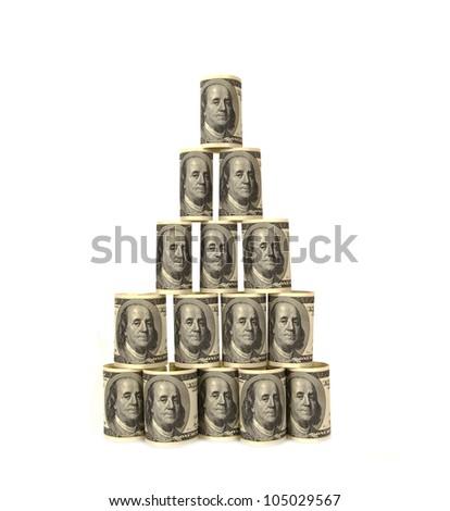 Hundred dollar bills money pile - stock photo