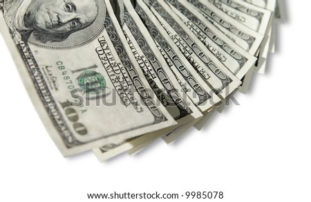 hundred dollar bills with copy space. Selective focus. - stock photo