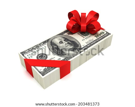 hundred dollar pack tied red ribbon with bow. 3d render illustration - stock photo