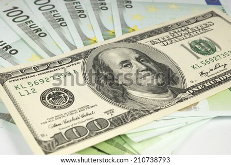 hundred dollars for euro notes - stock photo
