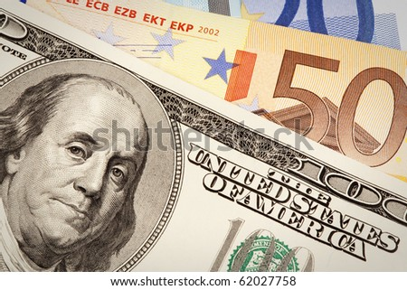 hundred dollars USA end euro background - stock photo