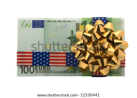 Hundred euro gift wrapped with banner tape - stock photo