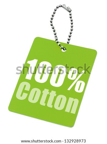 Hundred percent cotton tag isolated on white background - stock photo