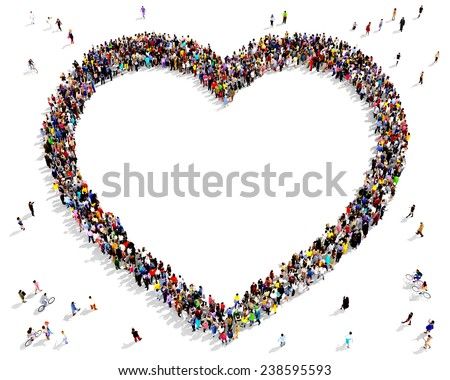 Hundreds of people seen from above gathered together in the shape of a heart symbol outline - stock photo