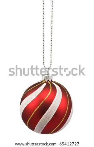 hung striped christmas bauble on white background - stock photo