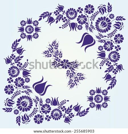 Hungarian blue floral folk pattern - raster - stock photo