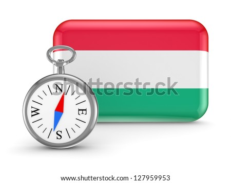 Hungarian flag.Isolated on white background.3d rendered. - stock photo