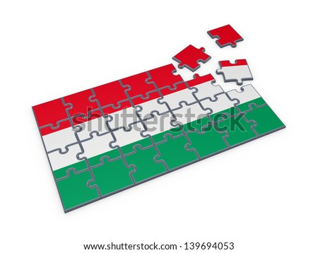 Hungarian flag made of puzzles.Isolated on white.3d rendered. - stock photo