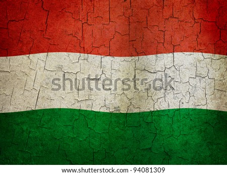 Hungarian flag on a cracked grunge background - stock photo