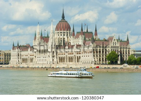 hungarian parliament building at bank of Danube river, Budapest, Hungary - stock photo