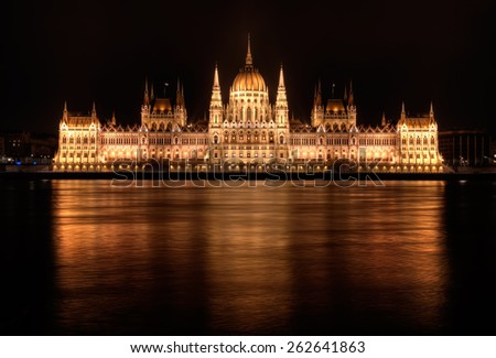 Hungarian Parliament Building at night in Budapest - stock photo