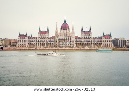 Hungarian Parliament Building  in Budapest - stock photo