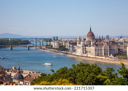 Hungarian Parliament building in Budapest, Hungary on a sunny day - stock photo