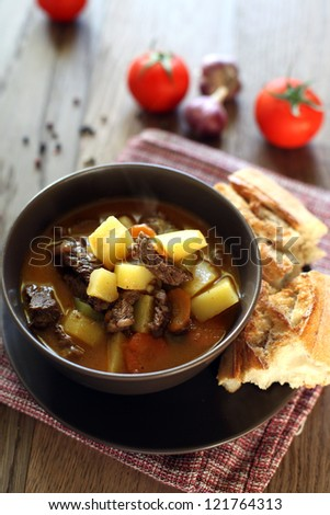 Hungarian soup with beef and vegetables - stock photo