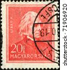 HUNGARY - CIRCA 1932: A post stamp printed in Hungary shows composer Franz Liszt, circa 1932 - stock photo