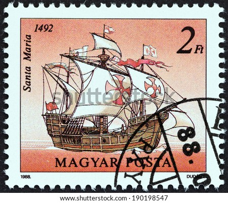 "HUNGARY - CIRCA 1988: A stamp printed in Hungary from the ""Sailing Ships "" issue shows Santa Maria, 1492, circa 1988.  - stock photo"