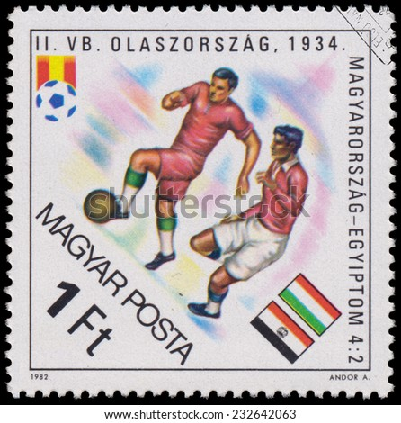 """HUNGARY - CIRCA 1982: A stamp printed in Hungary from the """"World Cup Football Championship, Spain """" issue shows Hungary v. Egypt, 1934, circa 1982.  - stock photo"""