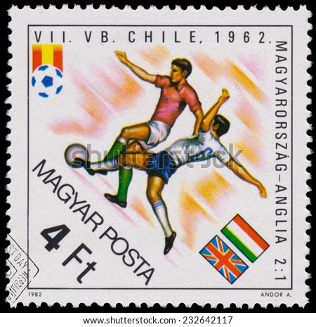 """HUNGARY - CIRCA 1982: A stamp printed in Hungary from the """"World Cup Football Championship, Spain """" issue shows Hungary v. England, 1962, circa 1982.  - stock photo"""