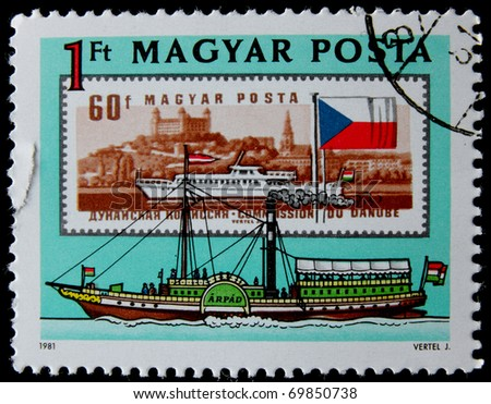 HUNGARY - CIRCA 1981: A stamp printed in Hungary showing ships, devoted The Danube Commission is an international intergovernmental organization, circa 1981 - stock photo