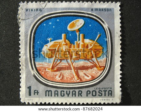 HUNGARY - CIRCA 1976: A stamp printed in Hungary shows image of the Viking Mars lander module, circa 1976 - stock photo