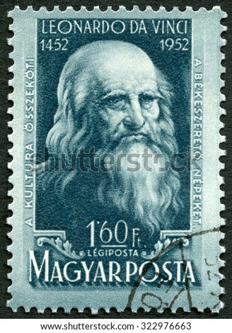 HUNGARY - CIRCA 1952: A stamp printed in Hungary shows  Leonardo di ser Piero da Vinci (1452-1519), 500th birth anniversary of Leonardo da Vinci,  circa 1952 - stock photo