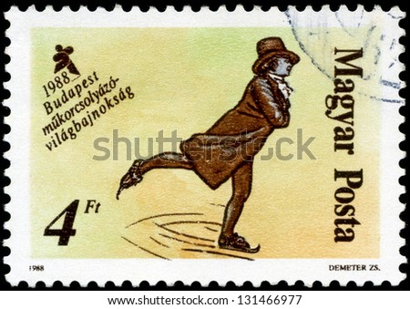"""HUNGARY - CIRCA 1988: A stamp printed in Hungary, shows Skaters from 19th century, with inscription and name of series """"World Figure Skating Championships, Budapest, 1988"""", circa 1988 - stock photo"""