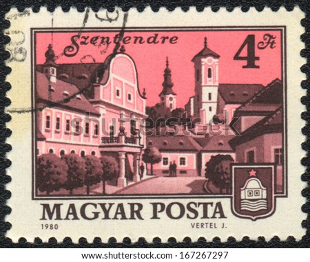 HUNGARY - CIRCA 1980: A stamp printed in HUNGARY shows Szentendre,  circa 1980 - stock photo