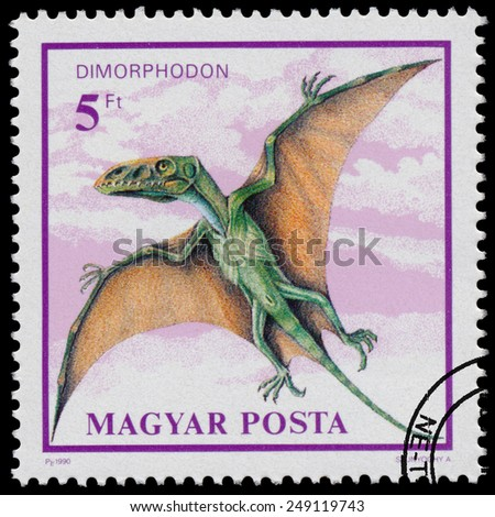 """HUNGARY - CIRCA 1990: Stamp printed in Hungary from the """"Prehistoric Animals """" issue shows Dimorphodon, circa 1990. - stock photo"""