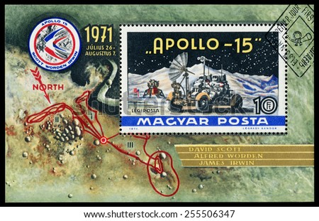 HUNGARY - CIRCA 1972: Stamp printed in Hungary, shows Apollo 15 with names of astronauts, circa 1972 - stock photo