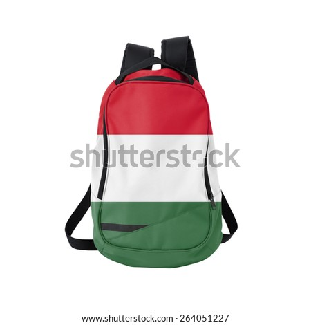 Hungary flag backpack isolated on white background. Back to school concept. Education and study abroad. Travel and tourism in Hungary - stock photo